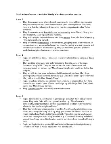 BLOODY MARY MARK SCHEME KS3 HISTORY ASSESSMENT FOR LEARNING
