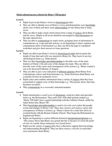 HENRY VIII PROJECT MARK SCHEME ASSESSMENT FOR LEARNING: KS3 HISTORY YEAR 8