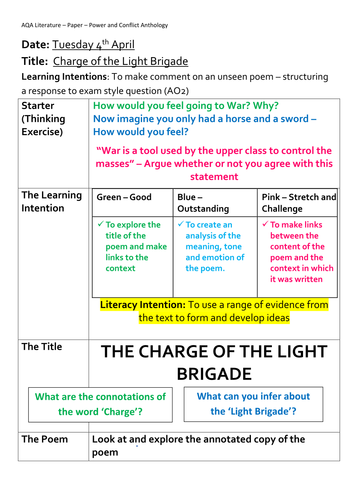 AQA Lit - The Charge of the Light Brigade