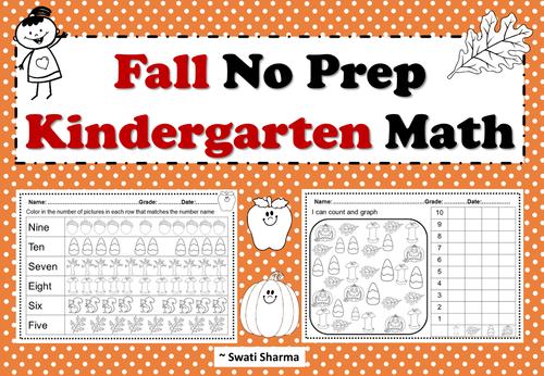 Fall No Prep Kindergarten Math Packet