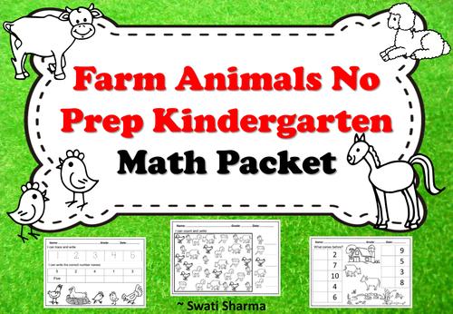 Farm Animals No Prep Kindergarten Math Packet