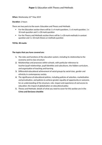 AQA A Level Sociology Education checklist