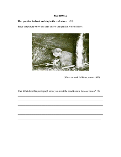 Year 9 Exam: Industrial Revolution: Coal and cotton. KS3.