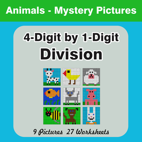Division: 4-Digit by 1-Digit Mystery Pictures