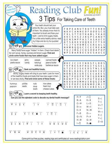 Tips for Taking Care of Your Teeth Word Search Puzzle