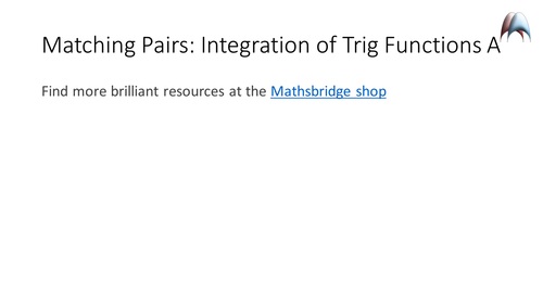 Integration of Trig Functions - Matching Pairs Memory Game