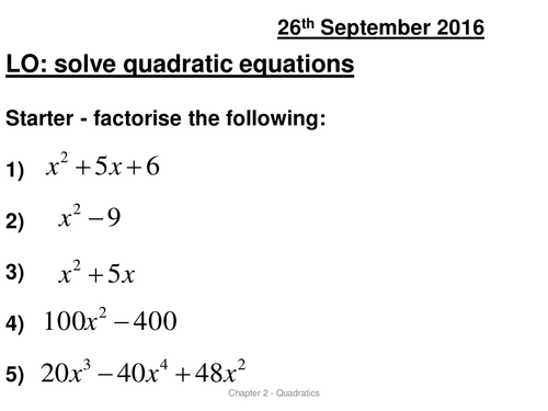 AS Solving quadratic equations