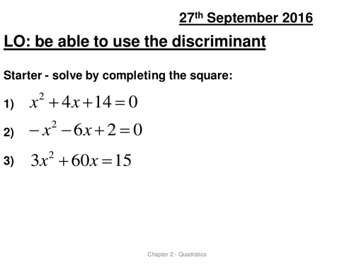 AS Roots and the discriminant