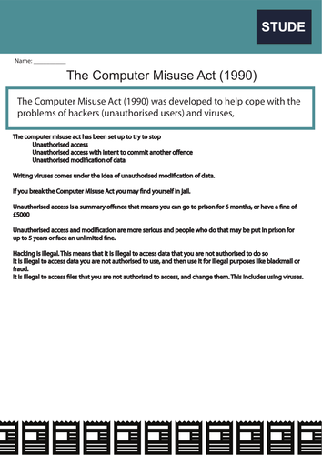 Computer Science Fact Sheets: Legislation and  Laws