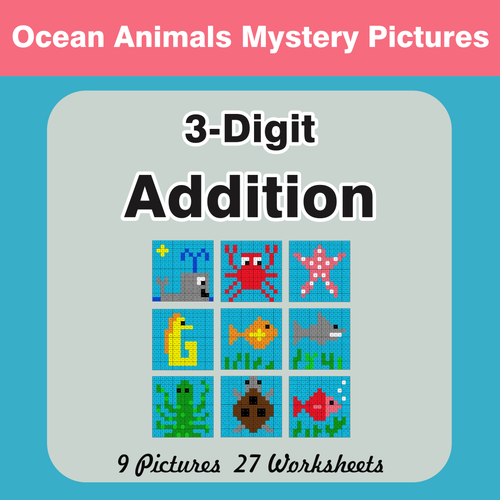 3-Digit Addition - Color-By-Number Mystery Pictures by bios444 ...