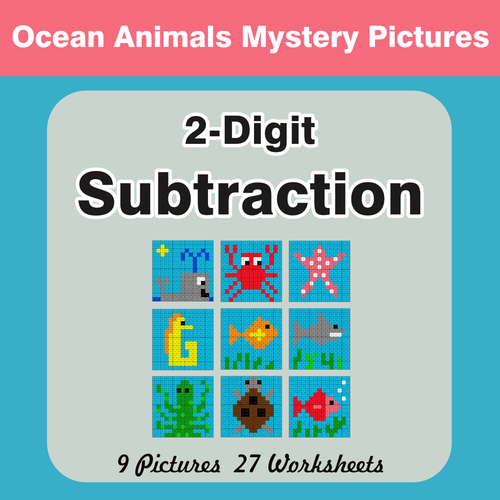 2-Digit Subtraction - Color-By-Number Mystery Pictures by bios444 ...