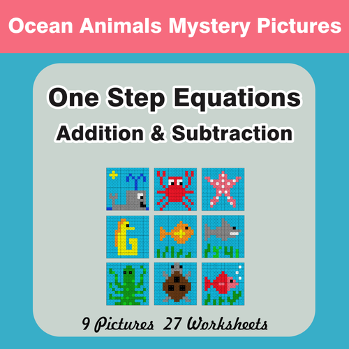 One-Step Equations (Addition & Subtraction) - Mystery Pictures by ...
