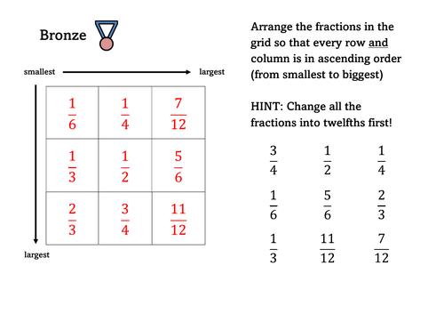 Ordering Fractions - Grid Challenge