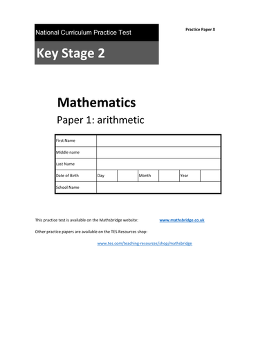 KS2 SATS Arithmetic Practice Papers x4 (W,X,Y,Z)
