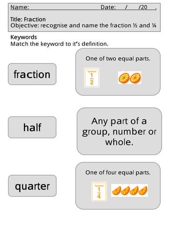 Mastery Maths - Fractions - recognise and name the fraction ½ and ¼