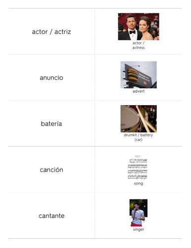 Flashcards - OCR GCSE Spanish: Vocabulary List - Entertainment