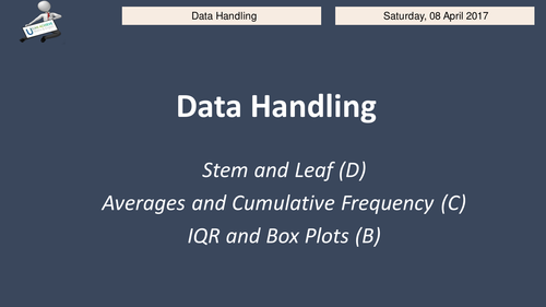 GCSE F/H revision ppt stem, leaf, cum freq and box plots