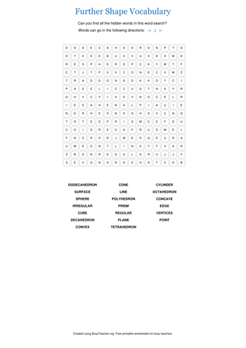 Further Shape Vocabulary Wordsearch and Crossword
