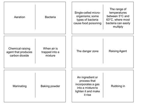 Food preparation and nutrition GCSE revision / starter task -  dominoes.