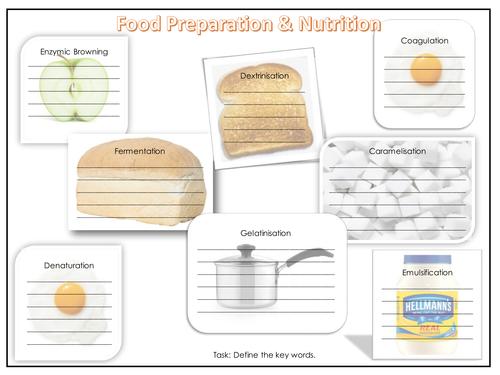 Key word definition worksheet - GCSE Food Preparation and Nutrition