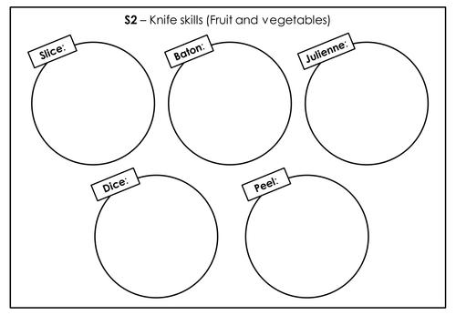 Knife skills  - preparing vegetables task