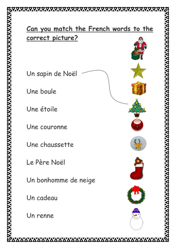 French Christmas Word Search and Vocab Matching Activities KS1/2