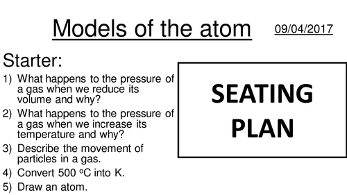 Atomic structure 1 - models of the atom