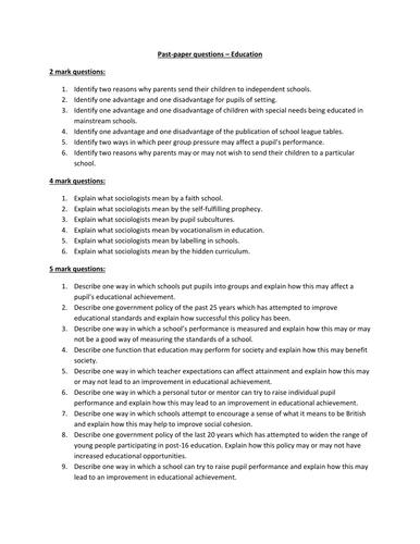 AQA GCSE Sociology Education questions