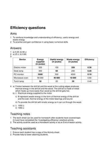 2017 AQA GCSE Physics Unit 1 Energy 8. Energy Efficiency by ...