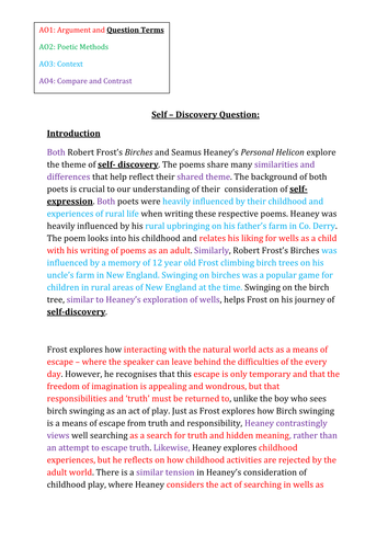 Frost and Heaney 'Self Discovery' Colour Coded Paragraphs