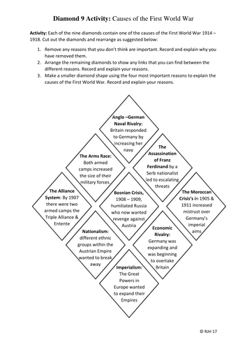 Diamond 9 Activity:  Causes of the First World War