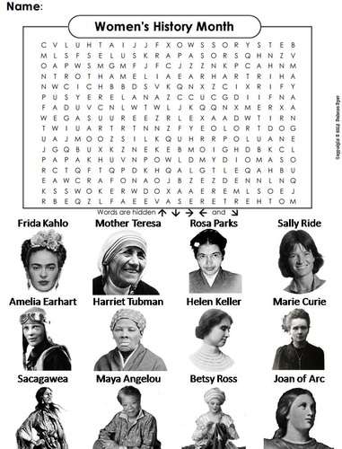 Women's History Month Word Search by ScienceSpot