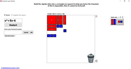 Quadratic Super Modeller - Really Handy Virtual Algebra Tile Software!