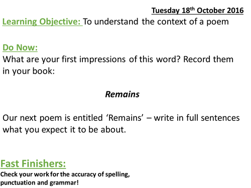 Remains - Simon Armitage (AQA Lit)- 2 Full lesson PowerPoints and Resources