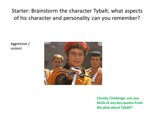 Romeo & Juliet AQA Exam Revision Session NEW 1-9 SPEC Tybalt Character based Question