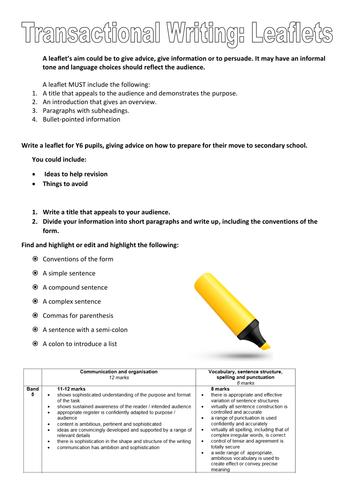 Revision Tasks for Transactional Writing: Leaflets (based on EDUQAS)