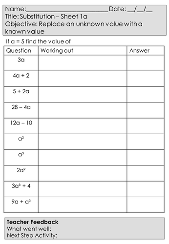 Mastery Maths - Algebra - Substitution - 16 worksheets - including negatives