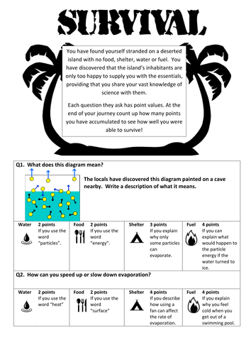 evaporation and condensation differentiated survival activity by heelis teaching resources. Black Bedroom Furniture Sets. Home Design Ideas