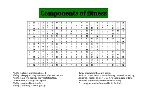 Components of fitness word search