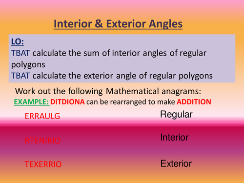 Polygons (Interior and Exterior) angles