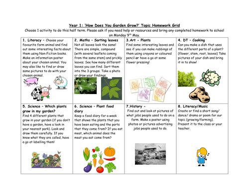 year 1 growing and farming topic homework grid by jessmurray10 teaching resources. Black Bedroom Furniture Sets. Home Design Ideas