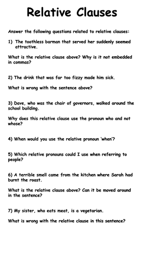 Relative Clause Worksheets - Deeper Thinking