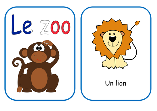 French Zoo/Wild Animals Flash Cards and Plan KS1/2