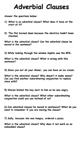 Adverbial Clauses Worksheets - Deeper thinking by krisgreg30 ...