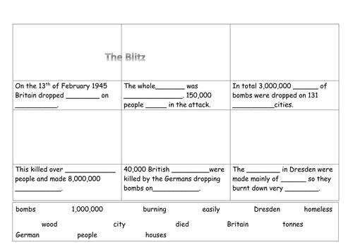 EAL/SEN/Primary The Blitz cartoon strip worksheet WW2