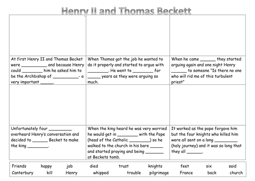 EAL/SEN/Primary Henry II and Thomas Beckett cartoon strip