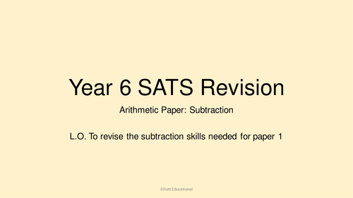 Year 6 SATS Arithmetic Paper 1 Subtraction revision (2016+)