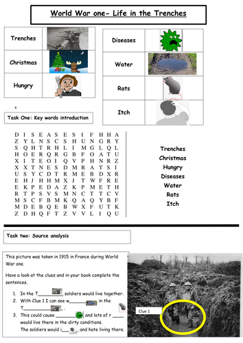 EAL/SEN Life in the Trenches Worksheet World War One