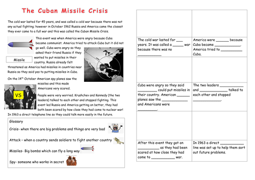 Eal Sen Lower Ability Cuban Missile Crisis Worksheet By