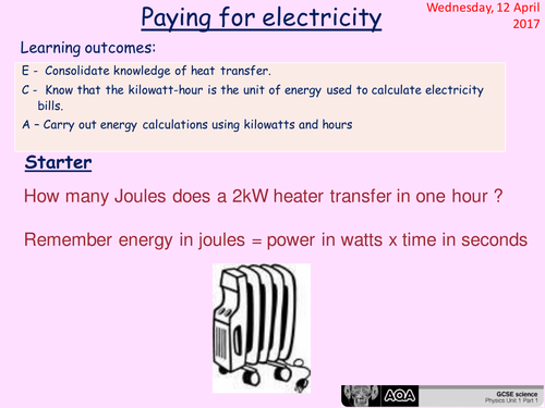 Paying for Electricity - GCSE Physics lesson